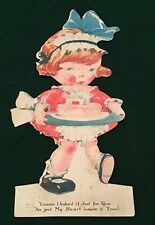 Vintage 1930's Valentine's Day Card Movable Heart In Cake Signed
