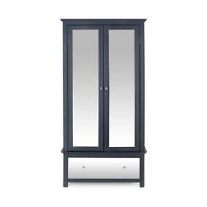 Dark Carbon 2 Door Wardrobe With Drawer Bedroom Storage Hanging Bar Clothes