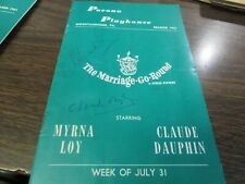 ORIGINAL - POCONO PLAYHOUSE - 1961 - MYRNA LOY / CLAUDE DAUPHIN - SIGNED PROGRAM