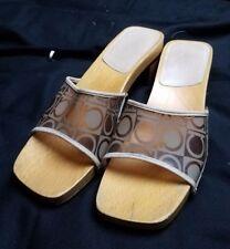 Clear Wood Sandals Slides Mules Wooden Bottoms Womens Shoes 7B Horseshoe Label