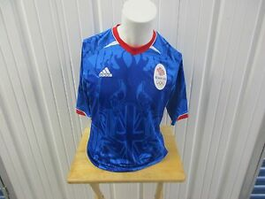 ADIDAS 2012 LONDON OLYMPIC TEAM GB/GREAT BRITAIN SOCCER  SEWN LARGE BLUE JERSEY