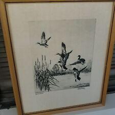 Frame w glass Richard Bishop Etching Print DUCK HUNTING LAKE ERIE MALLARDS 1938