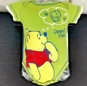 Disney Winnie The Pooh Bodysuit Size 3-6 Months Green Romper Cartoon Jumpsuit