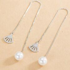 Silver Dangle Drop Earrings Jewelry Gifts New Women Long Flower And Pearl Tassel