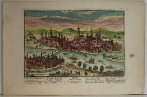 BUDAPEST HUNGARY 1730 AVELINE UNUSUAL ANTIQUE ORIGINAL COPPER ENGRAVED CITY VIEW