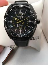 Seiko Prospex SUN057 Men's Kinetic Leather Band Black Dial GMT Analog Watch-H1