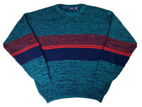 Vintage Wrangler Men's Acrylic Crew Neck Blue/Red Sweater, Sz XL, Made in USA