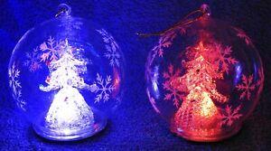TWO (2) LARGE Christmas LED Col-change Glass Globes (Xmas tree) -Hang/stand