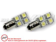 2 bombillas con 4 LED SMD de 3 chip p. luz lateral, int., rojo, Ba9s T4W, zócalo