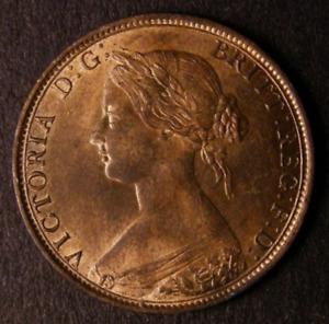 1862 Choice UNC/BU Queen Victoria Copper Half Penny CGS 85, ~MS65
