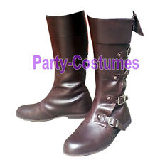 Medieval Leather Boots Brown Re-enactment Mens Shoe Role Play Costume Size 10
