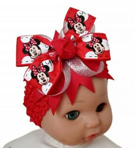 Headband Red Minnie Mouse Ribbon Hair Bow Accessory UK Seller 🇬🇧
