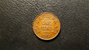 1922 CANADA PENNY 1 Cent Coin CIRCULATED Key Canadian Date
