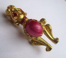 broche bijou vintage couleur or caniche finement travaillé cabochon rose * 2592