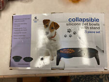 Collapsible Silicone Dog Pet Bowls With Stand, Blue