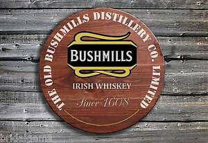 Bushmills Whiskey Barrel End Style Wooden Pub Sign - Bush Drinkers Gift