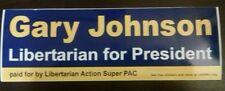 2X Gary Johnson Libertarian for President 2016 BUMPER STICKER 2012 2020