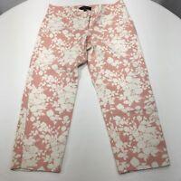 Talbots Signature Petites Crop Capri Pants Pink Print Canvas Sz 4P Women's
