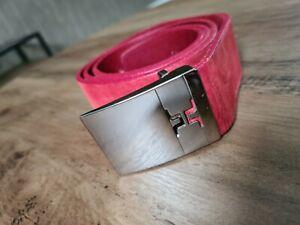 """J.Lindeberg Leather Golf Belt Red Silver Size 32 """" 90 cm"""