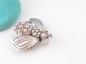 TIFFANY & CO SILVER LARGE BUMBLE BEE BROOCH PIN POUCH INCLUDED