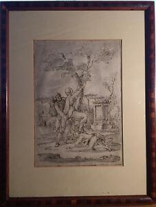 Antico Disegno Erotico su Carta In Bella Cornice
