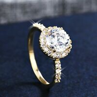18K Yellow Gold GF Made With Swarovski Lab Diamond Anniversary 2.0 ct Halo Ring