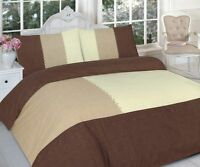 Luxury Patched Brown Cream Printed Duvet Quilt Cover Bedding Set With Pillowcase