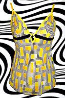 172✪ Panton Ära Retro MISS SIXTY Shirt Top 70er Jahre Pucci Muster Gr S