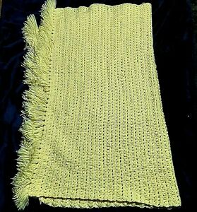 Vintage Handmade Crocheted Yellow w/ Fringe Afghan Popcorn Stitch Preowned