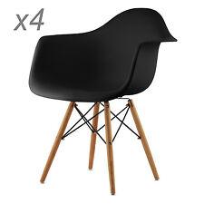4x Wohnzimmerstuhl Modernes Stühle Kunststoff Esszimmer Bürostüle Schwar Schwarz