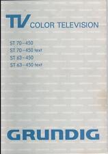 Grundig TV Color Television ST 70-450 und ST 63-450 Gebrauchsanleitung
