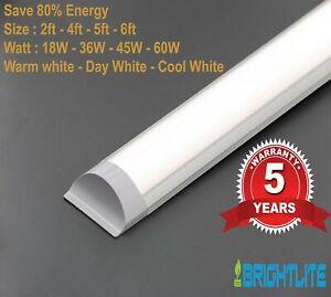 LED BATTEN SLIMLINE TUBE LIGHT WALL CEILING MOUNT 2ft 4ft 5ft 6ft BRIGHT LUMENS