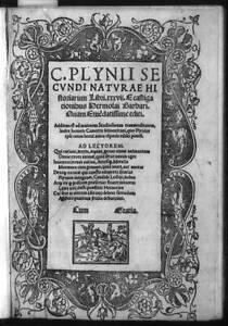 Title page,Pliny's Natural history,border,dolphins,Saint Michael,dragon,15 2361