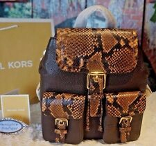 NWT Michael Kors SUSIE Small Flap Pebbled/Embossed Leather Backpack CARAMEL $378