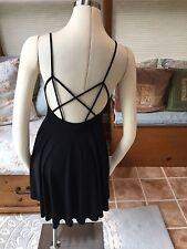 Kimchi Blue Urban Outfitters Black Spaghetti Strap Fit Flare Skater Dress M EUC
