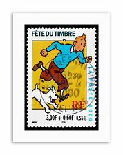 POSTAGE STAMP FRANCE 0.55 EURO TINTIN SNOWY HERGE POSTMARKED Canvas art Prints