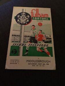 Fulham V Middlesbrough 1950 Soccer/football Programme