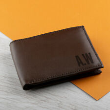 Personalised Engraved Real Leather Sleeve Wallet Mens Birthday Gift Dad