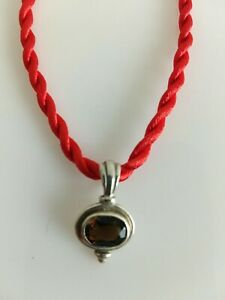 Sterling Silver Vintage Style Smokey Quartz Pendant Red Cord Necklace