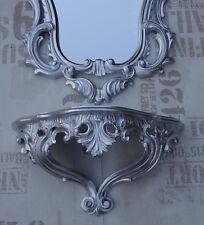 Baroque Wall Mirror+Storage Set in Silver Console Set Mirror 50X76 Antique Repro