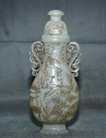 """10,8 """"Jade hétian naturel sculpté personnes vase pavillon en pin plat bouteille"""