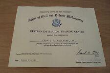 "1961 President CERTIFICATE~""OFFICE of CIVIL & DEFENSE MOBILIZATION""~Radiological"