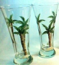 Set of Two Pilsner Glasses with Hand Painted Palm Trees