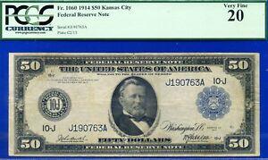 FR-1060 1914 $50 FRN (( Kansas City Rare )) PMG VF-20 ** Burke-McAdo **J190763A.