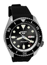 Seiko 5 Sports Automatic SRPD95 Black Sunray Day Date Silicone Band Watch New