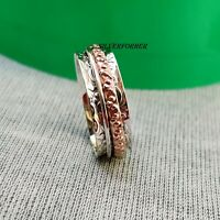 Solid 925 Sterling Silver Spinner Ring Wide Band Meditation Statement Jewelry e2