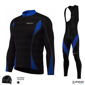 New Cycling Bib Pants + Jersey Set Winter Thermal Fleece Bicycle Long Tights Men
