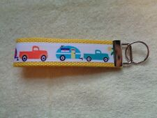 """Retro Vintage Camper Trailer with Pickup Truck Yellow 5"""" Key Chain Fob Wristlet"""