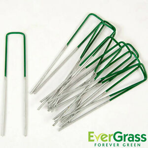 Artificial Grass U Pins Half Green Metal Galvanised Pegs Staples Weed Astro Turf