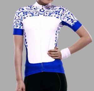 Women Cycling bike Jersey Blue white SLIM FIT Top Quality Lambda Mesh design